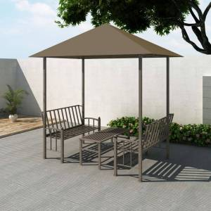 vidaXL Paviljong med bord och bänkar 2,5x1,5x2,4 m taupe 180 g/m²
