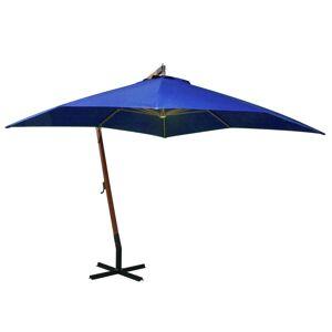 vidaXL Hängande parasoll med stång azurblå 3x3 m massivt granträ