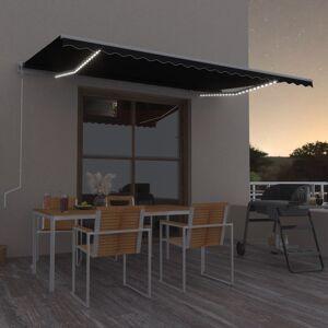 vidaXL Automatisk markis med vindsensor & LED 500x350 cm antracit