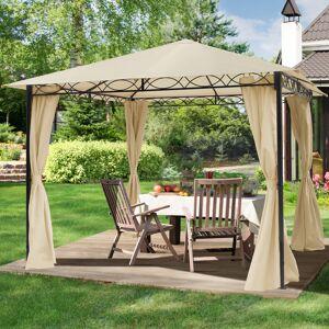 taltpartner.se Trädgårdspaviljonger 3x3m Polyester med PU-beläggning 180 g/m² champagnefärgat vattentät