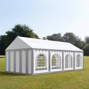taltpartner.se Partytält 4x8m PVC 500 g/m² grå-vit vattentät