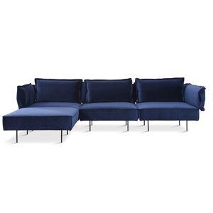 HANDVÄRK - Velour Sofa m. Chaiselong - blå