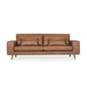 SoffaDirekt STOCKHOLM Leather 3-sits Cognac