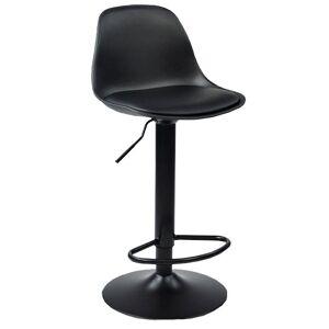 Nimara.dk Adam - Sort barstol drejbar med sorte ben (justerbar højde)