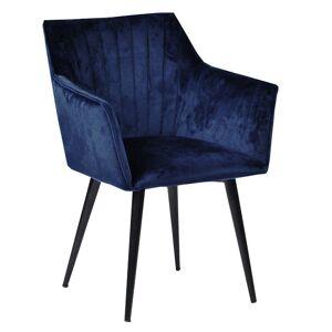 Nimara.dk Mary - Blå velour stol med armlæn
