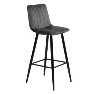 Nimara.dk Enya - Grå velour barstol 65 cm (Barstol til køkken)