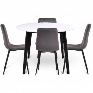Nimara.dk Spisebordssæt - Bjørk rundt spisebord Ø105 cm + 4 grå Line velour stole