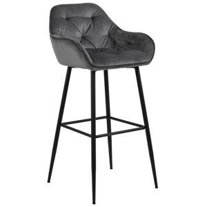 Nimara.dk Mario - Grå velour barstol 65 cm (Barstol til køkken)