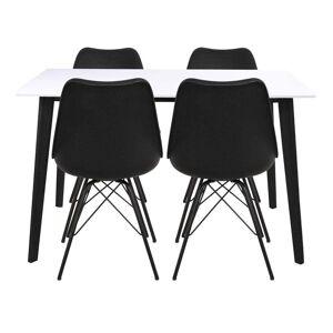 Nimara.dk Spisebordssæt - Bjørk Hvidt Spisebordbord 120 Cm + 4x Sorte Comfort Stole