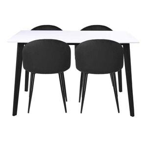 Nimara.dk Spisebordssæt - Bjørk Hvid/sort 120 Cm + 4 X Alice Sort Spisebordsstole