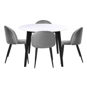 Nimara.dk Spisebordssæt - Bjørk Rundt Bord + 4 X Grå Alice Spisebordsstole