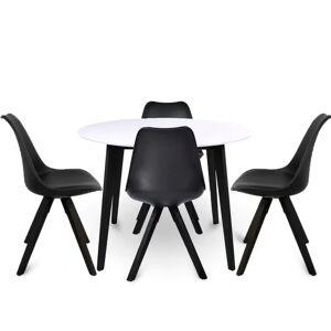 Nimara.dk Spisebordssæt - Rundt hvid/sort Ø105 cm + 4 x Rob sort spisebordsstole