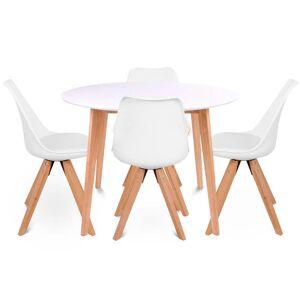 Nimara.dk Spisebordssæt - Rundt hvid/træ Ø105 cm + 4 x Shell hvid spisebordsstole