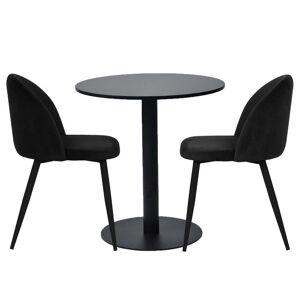 Nimara.dk Spisebordssæt - Troy Rundt Cafébord + 2 Sort Alice Stole