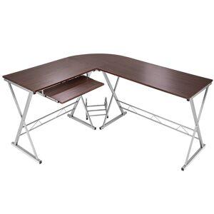 tectake Kombineret skrivebord og computerbord til hjørne - brun