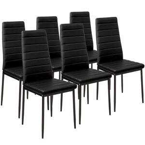 tectake Spisebordsstol i kunstlæder, sæt med 6 - sort