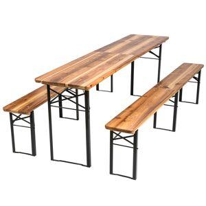 tectake Bord- og bænkesæt, foldbar - brun