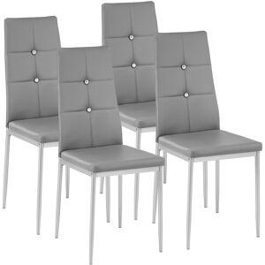 tectake Spisebordsstol Julien, sæt med 4 - grå