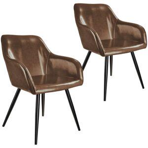 tectake 2x Stol Marilyn kunstlæder - mørkebrun/sort