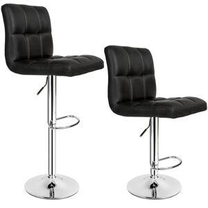 tectake Sæt med 2 barstole 62,5-82,5 cm - sort