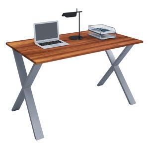 Lona skrivebord 140x50 cm X-stel valnød dekor, sølvfarvet.