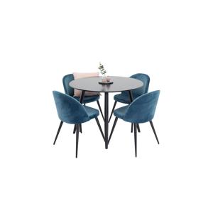 Homeroom Spisegruppe med spisebord Pia Round Table og 4 Velvet Chair