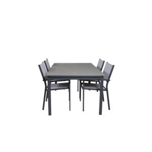 Homeroom Louis spisebord og 4 Cassie stabelbare spisestoler