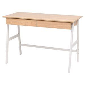 vidaXL Skrivebord 110x55x75 cm eik og hvit
