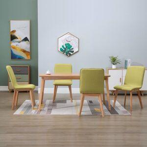 vidaXL Spisestoler 4 stk grønn stoff og heltre eik