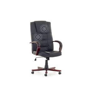 Beliani Kontorsstol med massage + värmefunktion läder svart DIAMOND