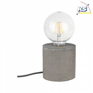 Bordlampe KS-SL-T7 med betonsokkel, rund, Ø 10cm, E27 maks. 25W, grå