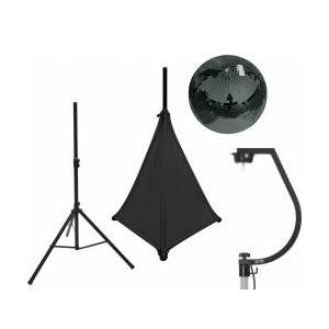 EuroLite Set Mirror ball 30cm black with stand and tripod cover black TILBUD NU