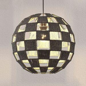 Lampenwelt.com Hængelampe Jiliana, grå, rund, skakbrætmønster