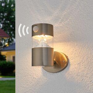 Lindby Solcellevæglampe Kalypso, rustfrit stål med LED'er