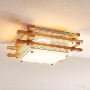 Lindby Firkantet LED loftlampe Zuna i træ, dæmpbar