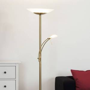 Lampenwelt.com Dæmpbar LED gulvlampe Ilinca, antik messing