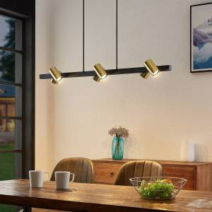 Lindby Savoli hængelampe, lang, sort-guld