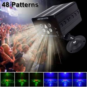 Beam YSH Disco Light 5 beam 48 pattern LED Laser Laser Projector Christmas party DJ light Voice-activated Disco Xmas for wedding
