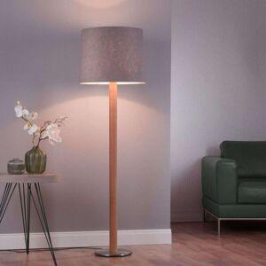 Lucande Elif gulvlampe filt, sylinder, eik natur