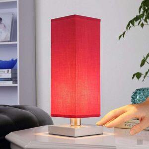 Lampenwelt.com Rød nattbordlampe Julina med stoffskjerm