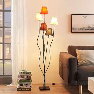 Lampenwelt.com Melis - gulvlampe i tekstil med 5 lys til stuen