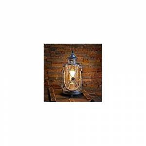 Eglo Rustic Silver E27 Table Lamp With Rope Handle, Bradford