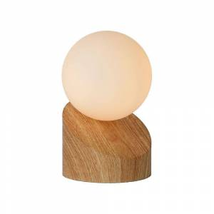 Lucide Len Modern Round Metal Light Wood And Opal Table Lamp