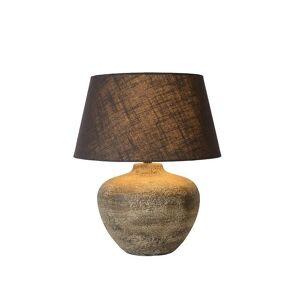 Lucide Ramses Cottage Round Ceramics Rust Brown Table Lamp