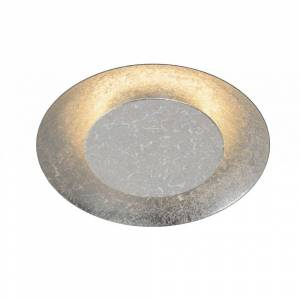 Lucide Foskal Modern Round Metal Silver Flush Ceiling Light