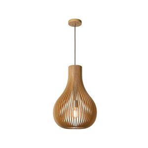 Lucide Bodo Scandinavian Round Wood Light Wood Pendant Light