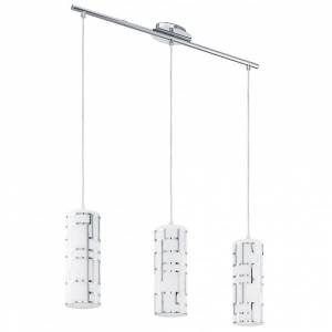 Eglo Bayman 3 Light Pendant Chrome Decorated White Shade