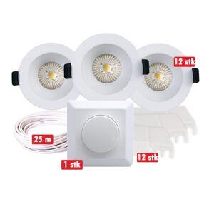 Nordic Products Komplett Alea LED 9W x12 Downlightpakke Matt Hvit IP44