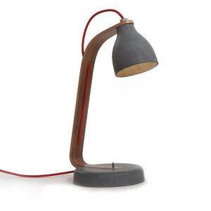 decode Heavy Desk Light Bordlampe Mörk Betong med Valnöt