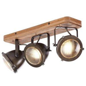 Brilliant Taklampa Carmen Wood i industriell stil – 3 lampor